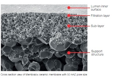 Cross section view of Membralox ceramic membrane with 50 nmZ pore size